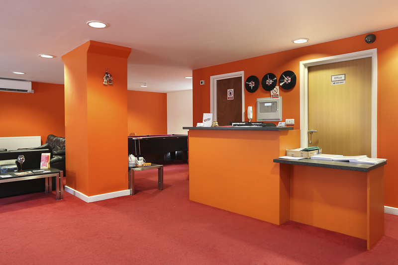 student accommodation front desk in Canterbury Student Village
