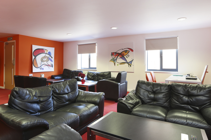 Main social lounge in Canterbury Student Village