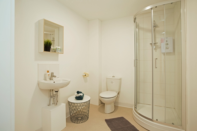 Private restroom in studio westbar house