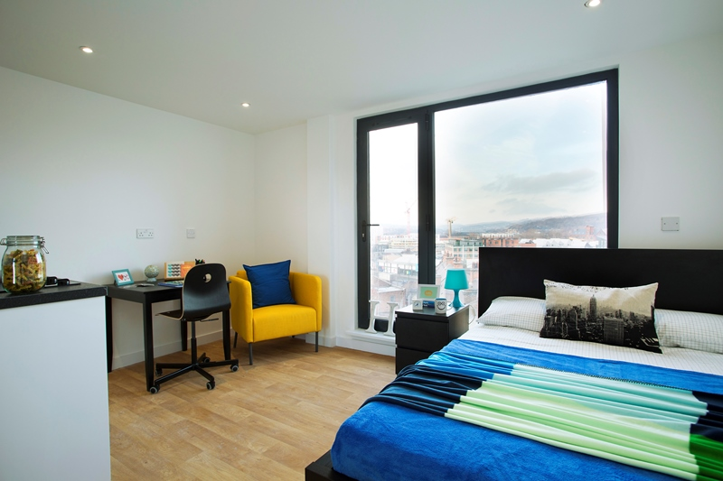 Classic studio student accommodation bedroom