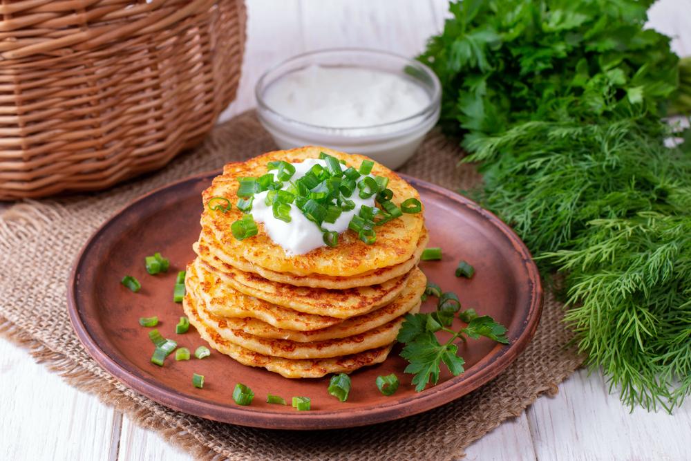 cheddar & onion vegan pancakes