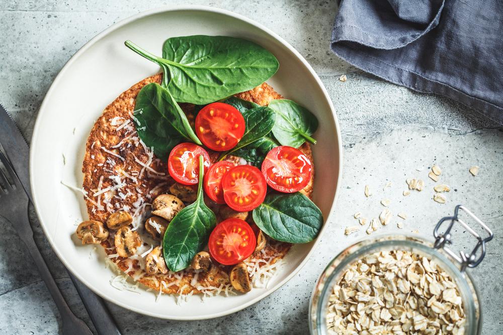 easy vegan pancake recipe tomato & mushroom