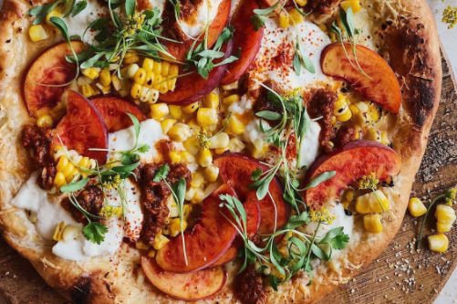 pizza with sweetcorn and cheese